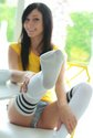 catie-minx-eating breakfast short shorts socks2
