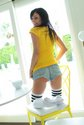 catie-minx-eating breakfast short shorts socks3
